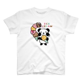CT54ズレぱんだちゃん アイスを食べよう_bs T-shirts