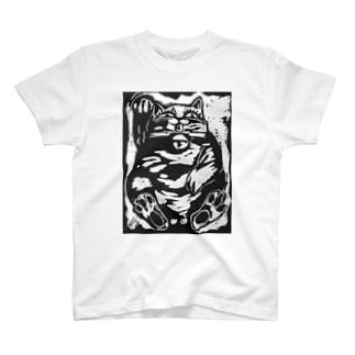 招き猫(木版画) T-shirts