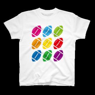 フォーヴァのカラフルラグビーボール T-shirts