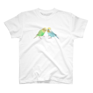 セキセイインコ ちょこんとせきせいんこーず【まめるりはことり】 T-shirts