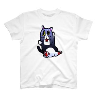 だんち(¯﹃¯)のハチワレ黒ねこ(文字無し)完成型 T-shirts