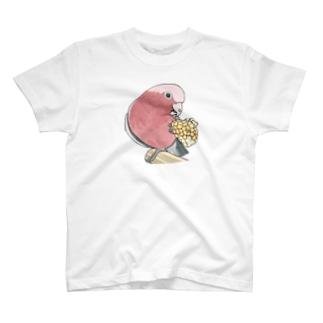 モモイロインコちゃんとトウモロコシ【まめるりはことり】 T-shirts