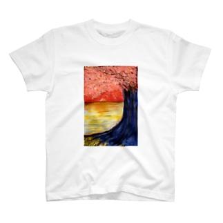 桜と落陽 T-shirts