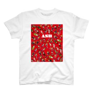 ASBスタッフキャラクターアイテム(赤) T-shirts