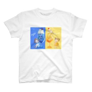夜空と朝焼けのクリームソーダ T-shirts