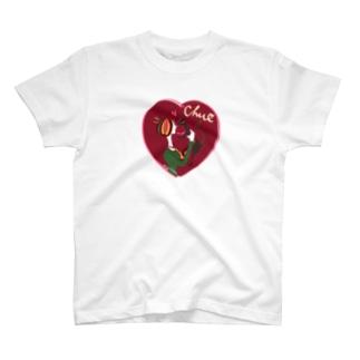 猫キッスレッド T-shirts
