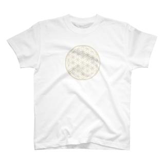 フラワーオブライフ☆マットゴールド T-shirts