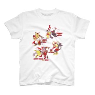 プロレスにゃんこ~プロレス衣装カラーver~ T-shirts