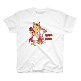 プロレスにゃんこ☆コブラツイスト~プロレス衣装カラーver~ T-shirts
