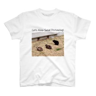 ネコのソーシャルディスタンスT T-shirts