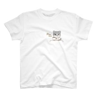 黒白猫のシンプルモノトーン T-shirts