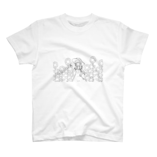 【アクシズ】ひまわり畑(線画) T-shirts