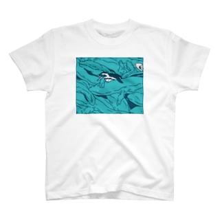ぎゅうぎゅうオオサンショウウオ ブルー T-shirts