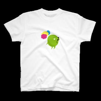 Parafamilyのmame でんわする T-shirts