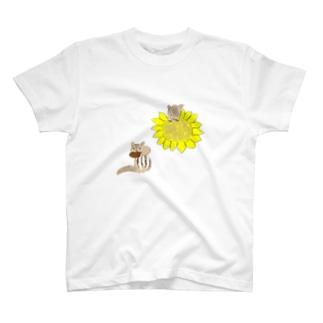ひまわりとリス2 T-shirts