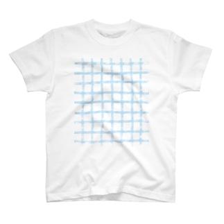 ギンガムチェック 水色 T-Shirt