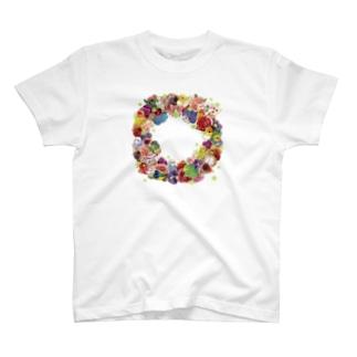 インコとお花リース T-shirts