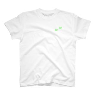 Tシャツ(白)   ハート(イエローグリーン) T-Shirt