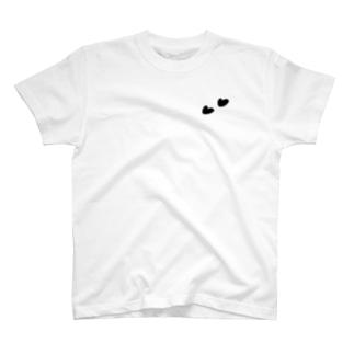 Tシャツ(白)   ハート(ブラック) T-Shirt