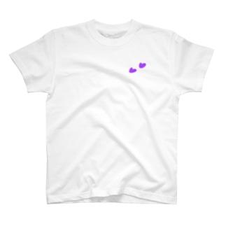 Tシャツ(白)   ハート(パープル) T-Shirt