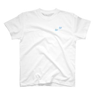 Tシャツ(白)   ハート(水色) T-Shirt