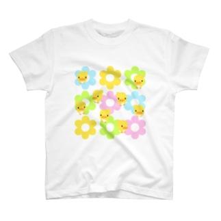akimalの花とヒヨコ T-shirts