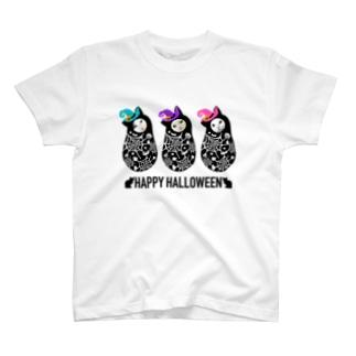 ハッピーハロウィン 黒猫マトリョーシカ🦇 T-shirts