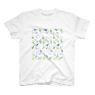 たくさんセキセイインコちゃん【まめるりはことり】 T-shirts