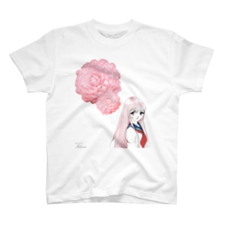 花こころ 桃 (少女と花A) T-shirts