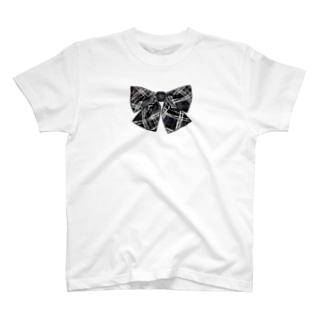 Tシャツ(白)  フェイクリボン(ブラック) T-Shirt