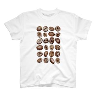 コーヒー豆24粒 縦長みっちり T-Shirt
