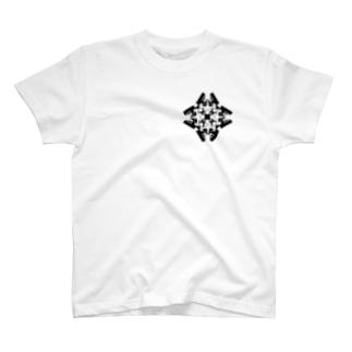 スクエア(黒) T-shirts