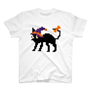 ドット絵ハロウィン黒ネコ T-shirts