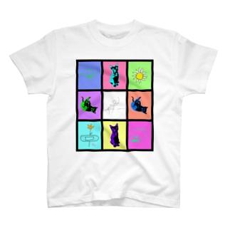 マルチカラー ネコとらくがき T-shirts