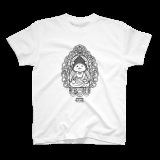 PygmyCat suzuri店の仏にゃん(黒線) Tシャツ
