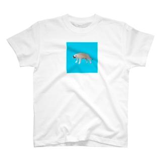 シベリアンハスシー🐶🍣ブルー T-shirts