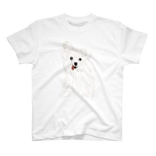 晩御飯を狙う愛犬 T-shirts