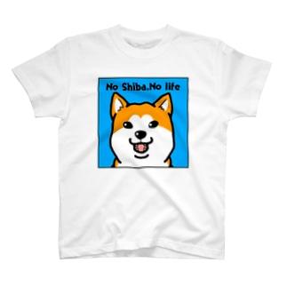 No Shiba,No life(麿無しブルー) T-shirts