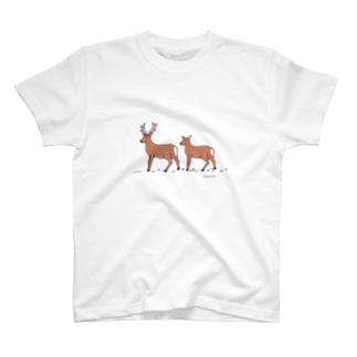 エゾシカカップル T-shirts