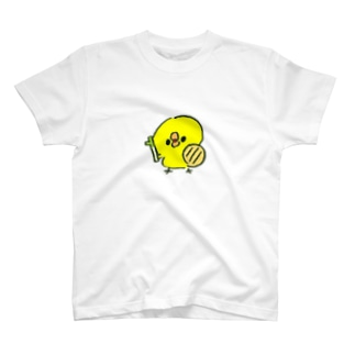 ねぎと鍋のふたを持ったひよこ T-shirts