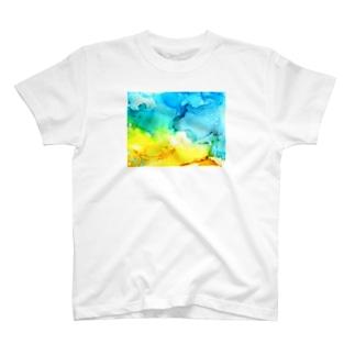 さざなみ-アルコールインクアート T-shirts