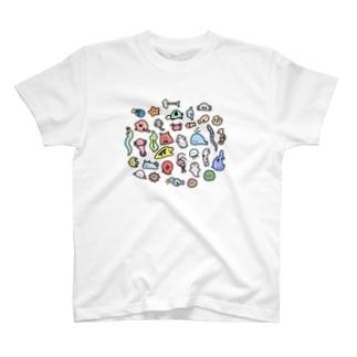 ウツボくんの海の生き物たくさん T-shirts