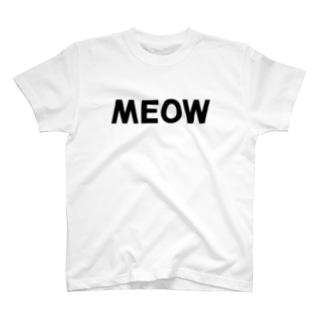 SHOP W SUZURI店のMEOW Tシャツ T-shirts