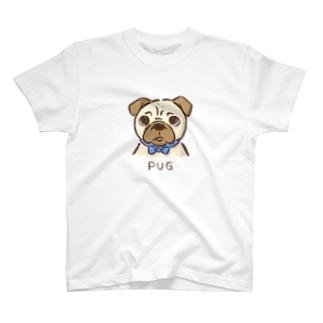 困り顔パグ T-shirts