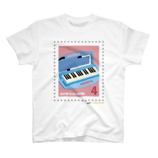 キャトル切手_鍵盤ハーモニカ T-shirts