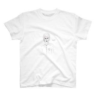 ん   白  線画 T-shirts