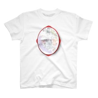 道祖神様のお店番(楕円フレーム) T-shirts
