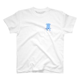 ワンちゃんポッケのデザインTシャツ T-shirts