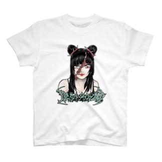 裂断女の子Tシャツ(緑な文字) T-shirts