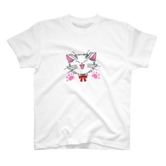 ねこねこうおの元気な白猫ちゃん 肉球あり T-shirts